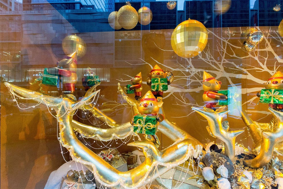 Holiday windows at Macy's State Street