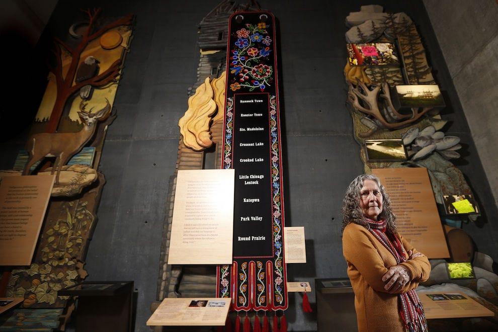 Métis artist Jennine Krauchi with her breathtaking work