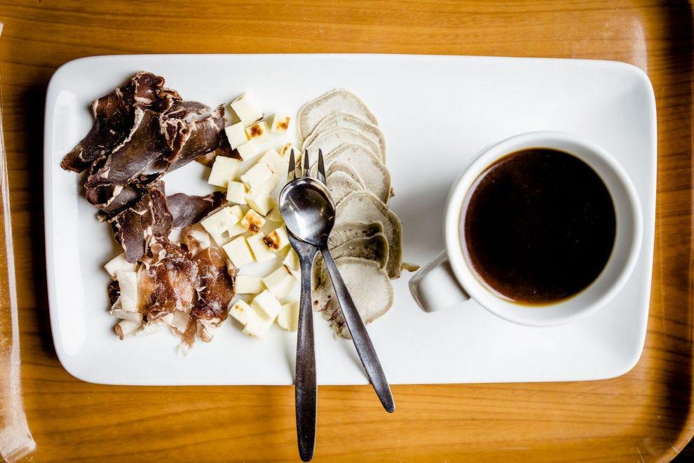 Kaffeost served alongside smoked reindeer and kaffebrod (a sweet bread)