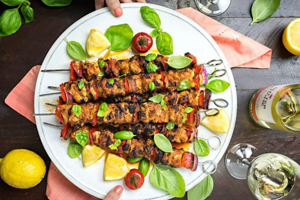 Add a kick to your BBQ with these fiery pesto chicken skewers