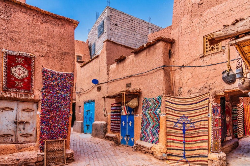 Handmade carpets and rugs in the streets of Morocco