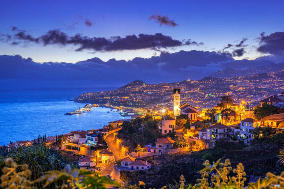 Night view of Madeira from Funchal