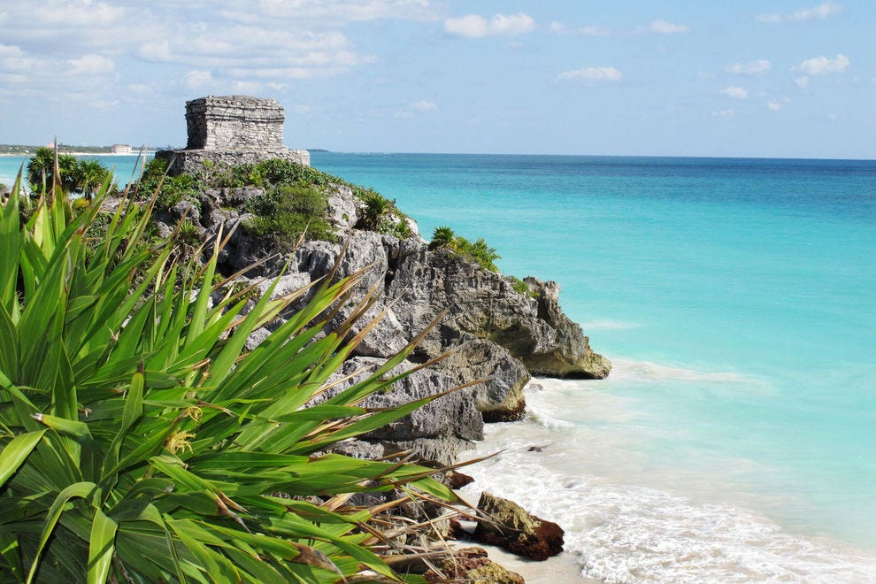 Ancient Mayan ruins sidle up to the Caribbean in Tulum, Mexico.