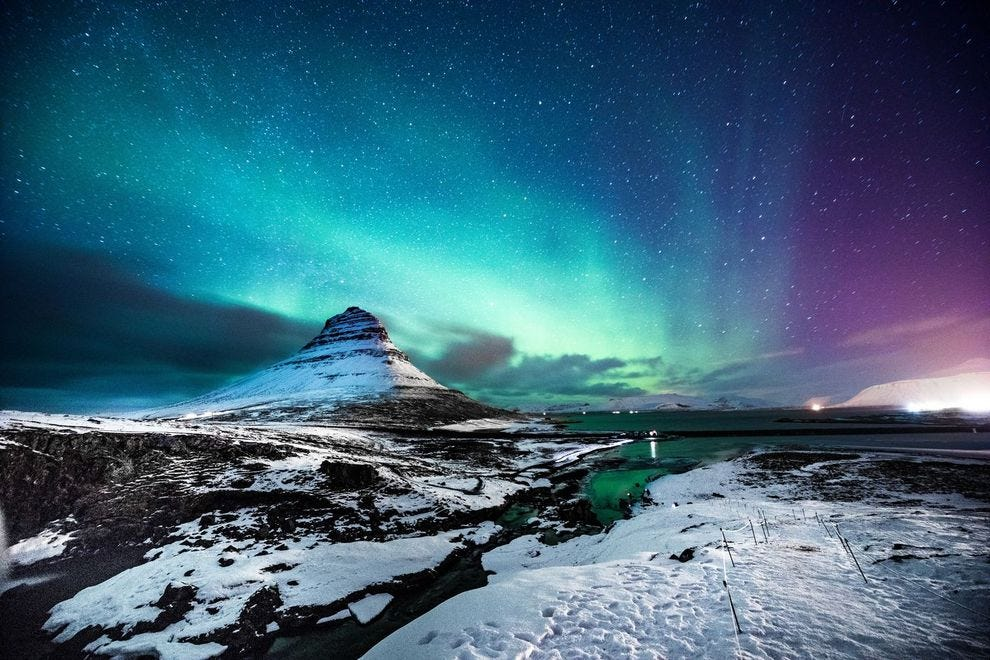 Northern Lights over Mount Kirkjufell in Iceland