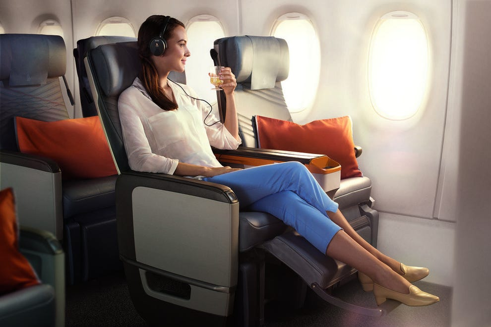 Leaning back in Singapore Airlines' Premium Economy seat