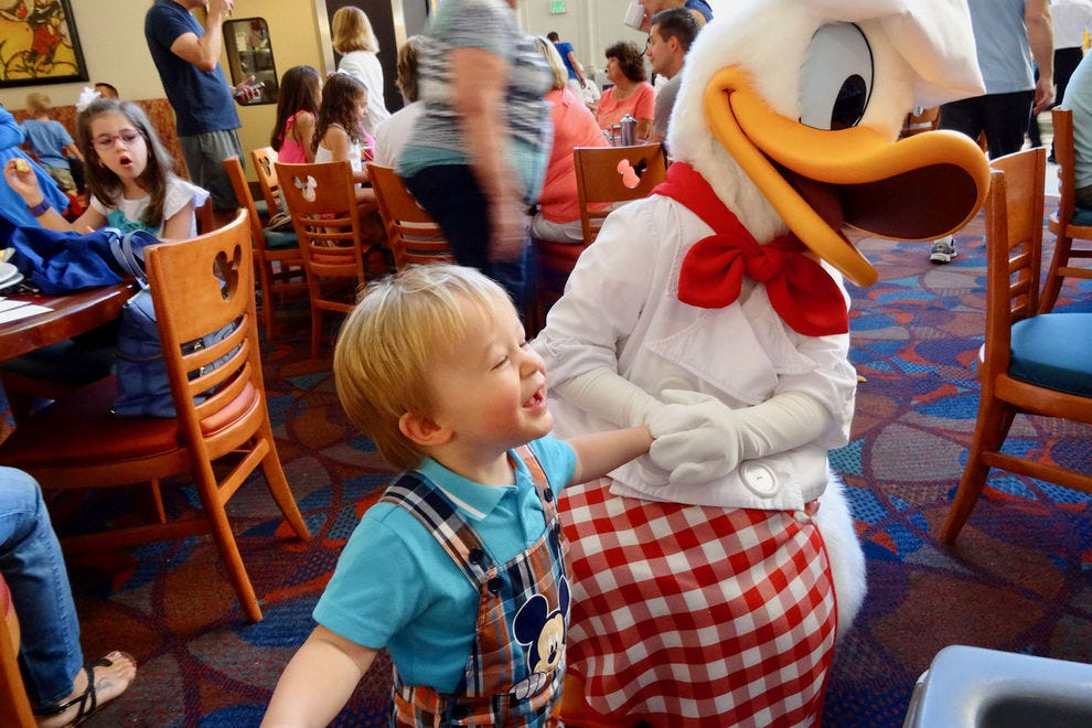 Puck clearly knows his character-dining; Chef Mickey's ranks high on his list