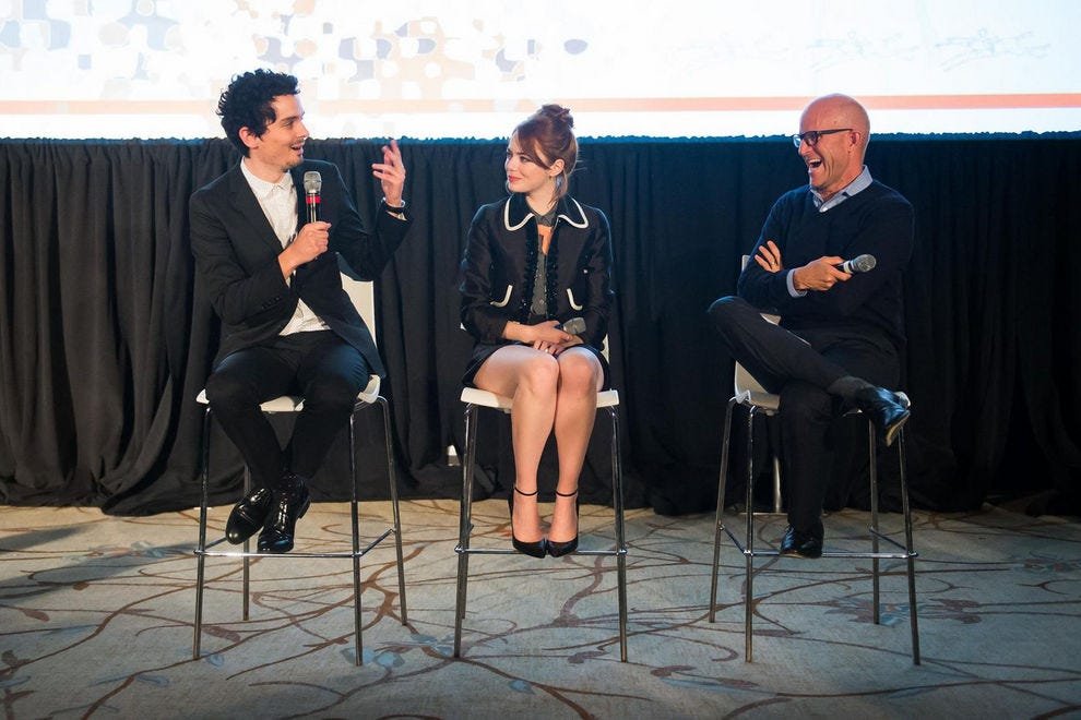 Damien Chazelle and Emma Stone discuss <em>La La Land</em> with radio host John Horn at Middleburg Film Festival