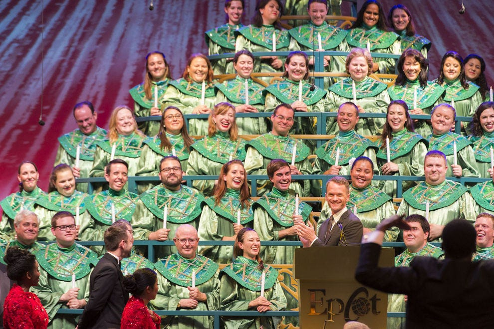 The Candlelight Processional is among the most loved holiday traditions at Epcot; each year, new and returning celebrities (like Neil Patrick Harris) show up to narrate