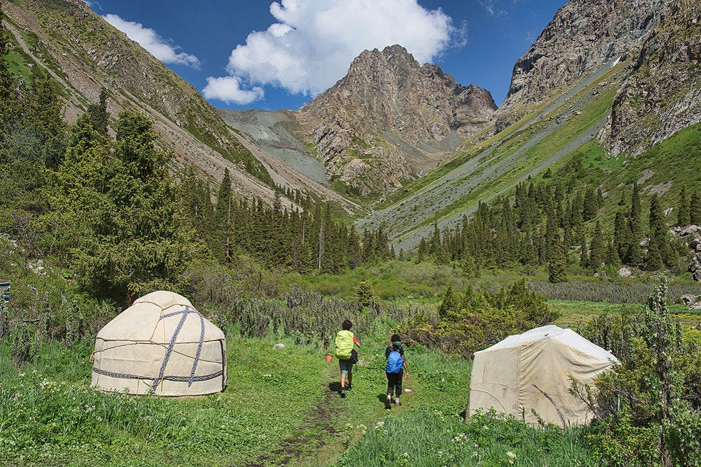 Yurts feature prominently on the Kyrgyz landscape