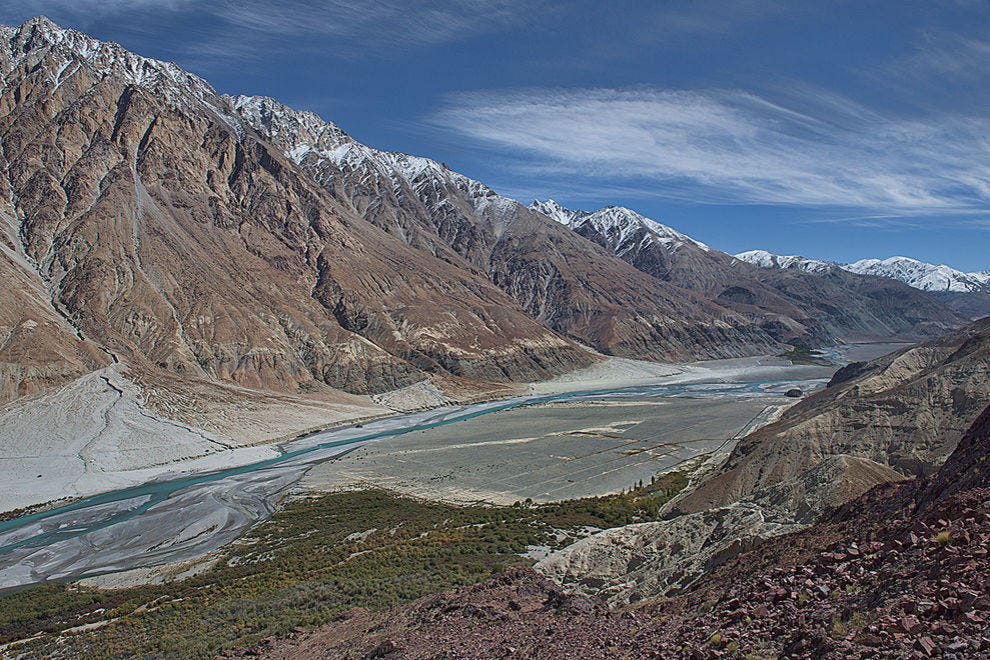 The beautiful Shyok River and Karakoram Range, Nubra Valley