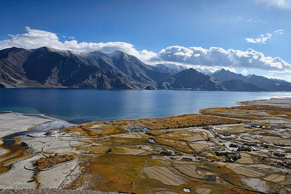 Meerak village and Pangong Lake in autumn color
