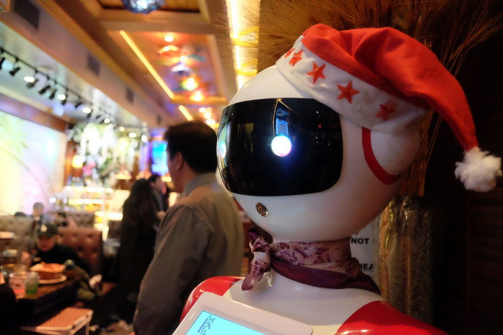 Say hello to the robot at the bar!