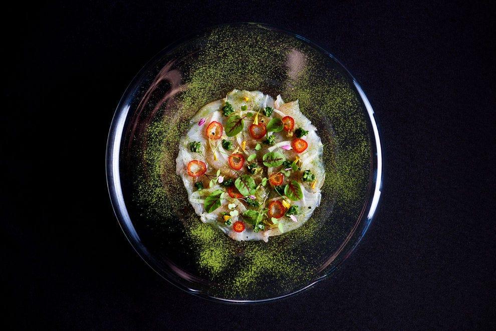 Kona Kampachi Carpaccio incorporates a lesser-known superfood