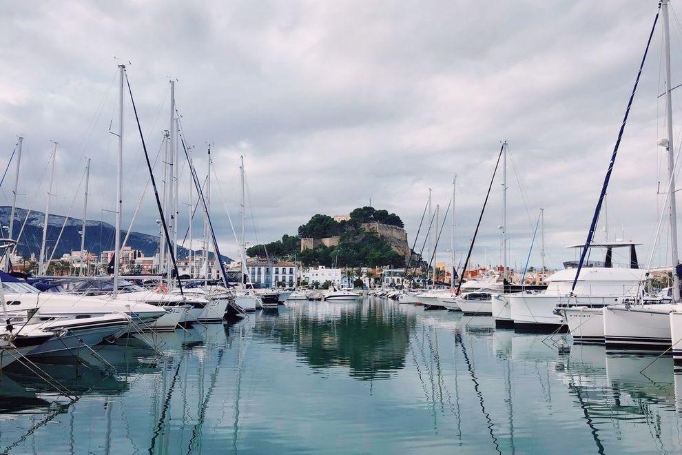 Baleària Port overlooking castle of Dénia