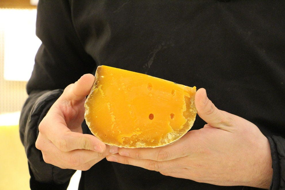 A wedge of aged Mimolette