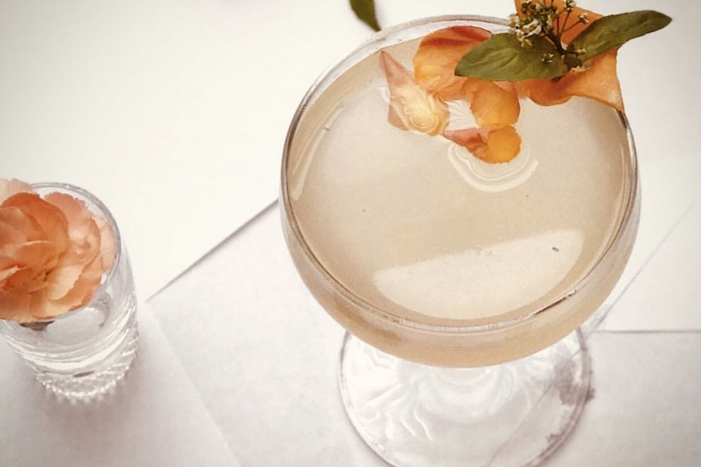 Sip the refreshing Apothecary cocktail with gin and prickly pear liquor