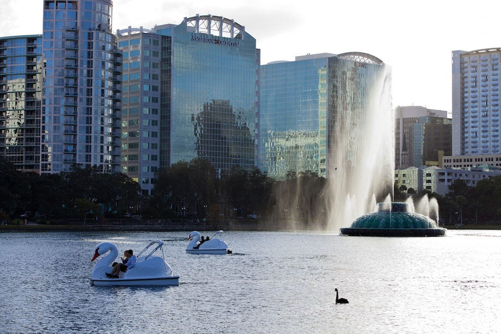 The view from the swan boats on Lake Eola is stunning