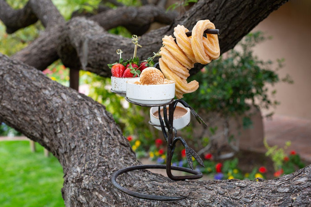 The Churro Tree at LON's at Hermosa Inn features cinnamon sugar churros, horchata ice cream, Mexican chocolate and strawberries