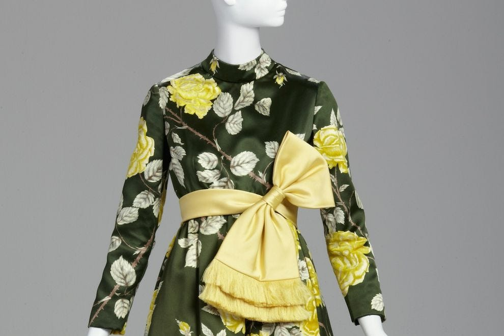 George Halley, Evening dress, fall 1969. Satin, velvet, silk and organza. Gift of Carol Schatt, from the Estate of Nina Pulliam at <em>Flora</em> exhibit at the Phoenix Art Museum