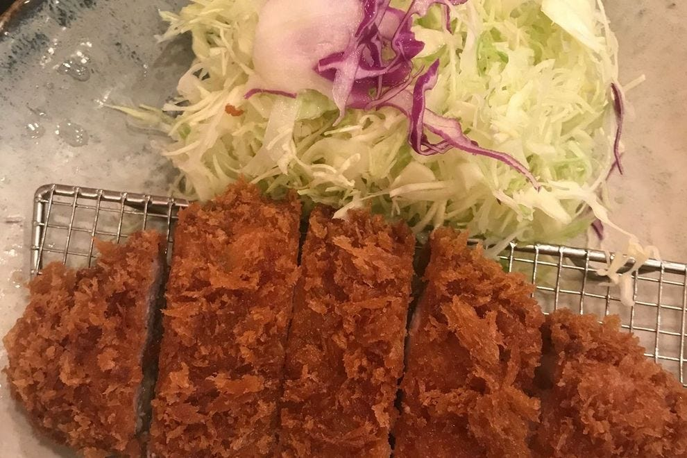 Tonkatsu is a pork cutlet that is reminiscent of schnitzel