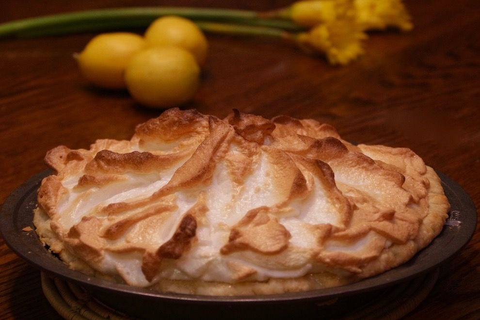Lemon meringue pie, following Mrs. Goodfellow's recipe