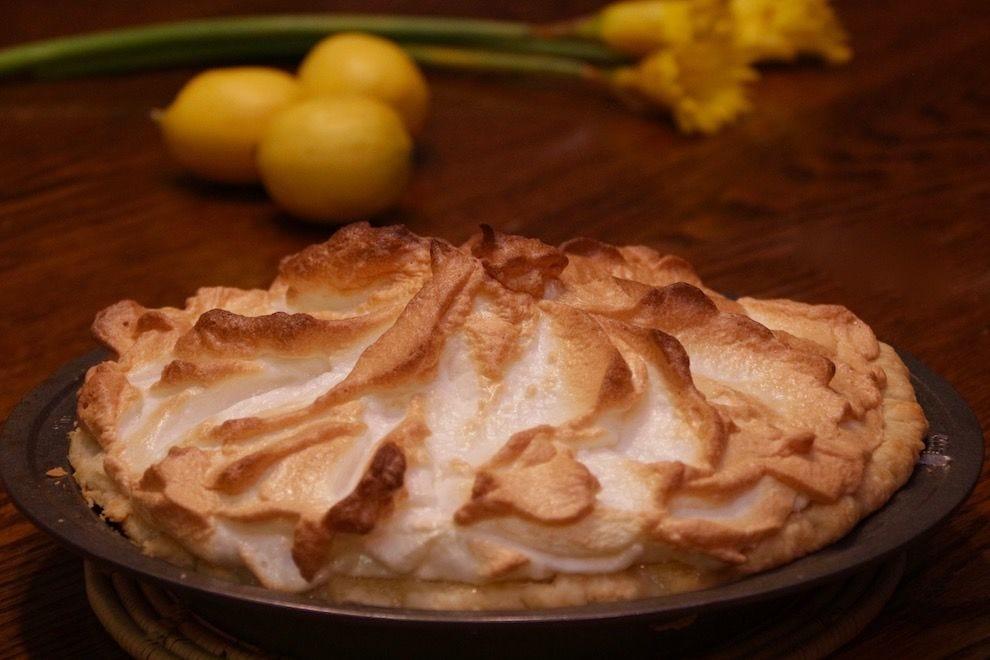 Lemon meringue pie, following Mrs. Goodfellow's recipe