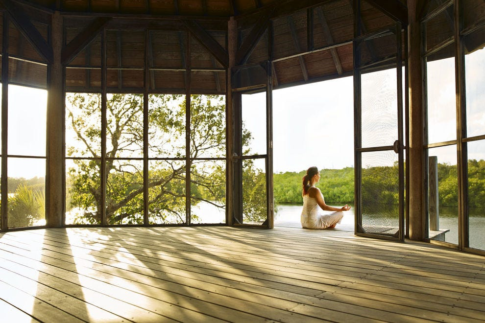 The meditation room is surrounded by the island's greenery, offering the perfect place for some oms