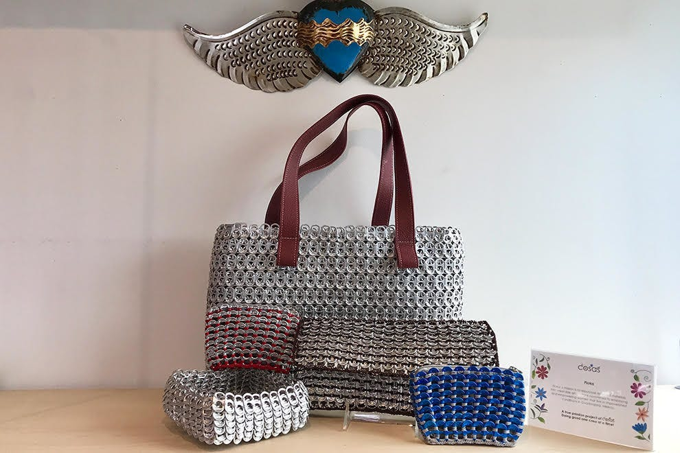 This handbag is made from pop tops