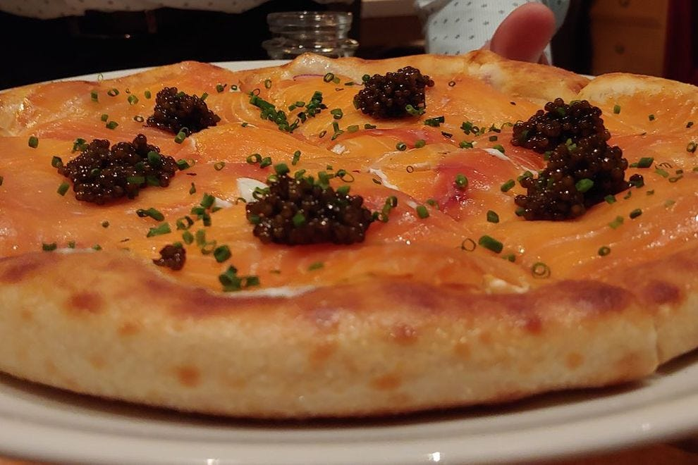 Chef Morimoto recommends Wolfgang Puck's decadent smoked salmon pizza