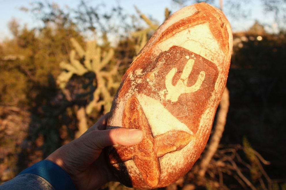 "The ""Heritage"" loaf from Barrio Bread features locally grown heritage flours (and a cool cactus stencil design!)"