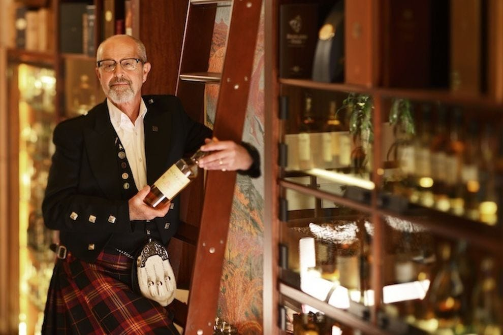 The Scotch Library features more than 175 single malts, 30 blends and a number of rare bottles imported from all six whisky regions of Scotland