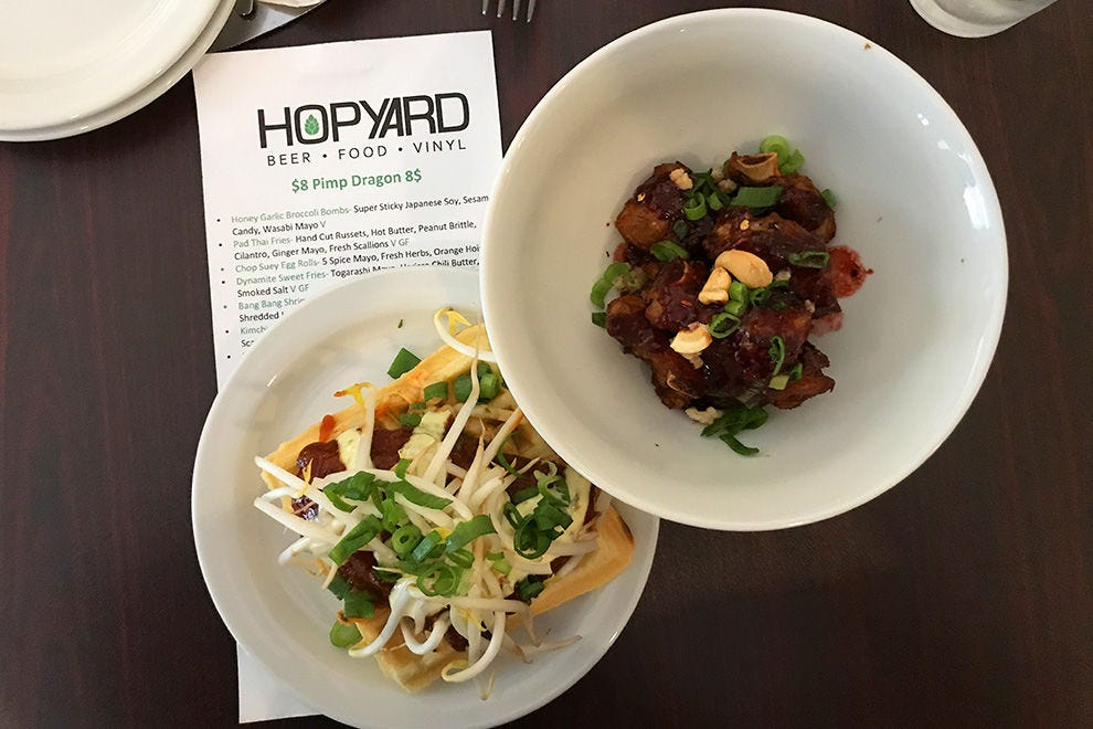 Superb Korean-inspired food at HopYard, including kicked up chicken and waffles