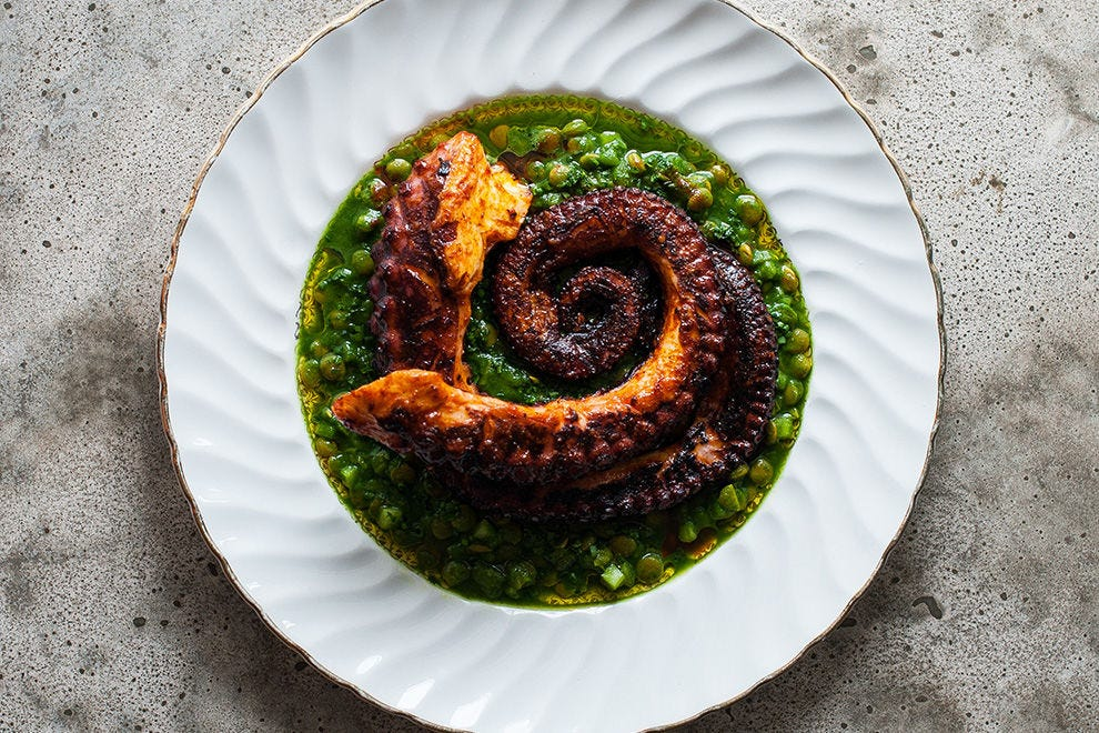 Bar Kismet's octopus is slow poached, grilled and tossed in chili oil