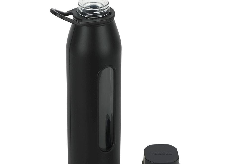 Takeya Classic Glass Water Bottle with Silicone Sleeve and Twist Cap