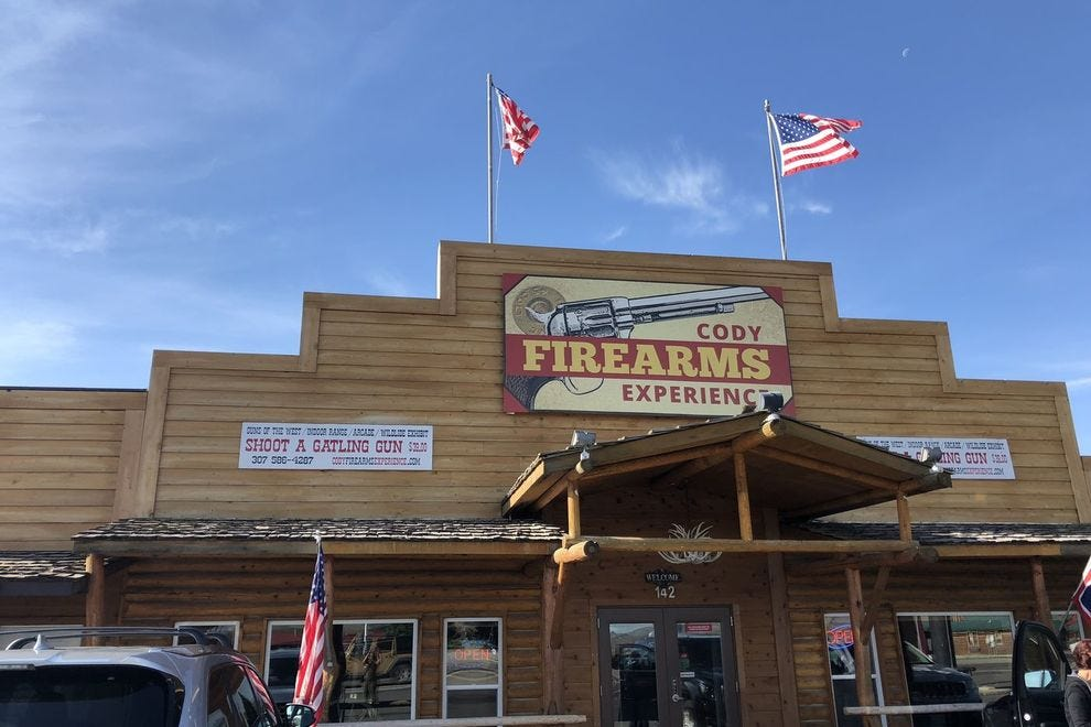 Find out what it's like to fire a Gatling gun at Cody Firearms Experience