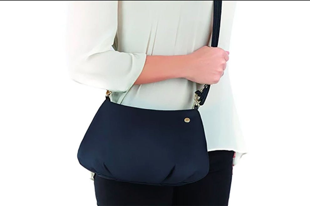 Citysafe CX anti-theft cross-body purse is made with steel cable