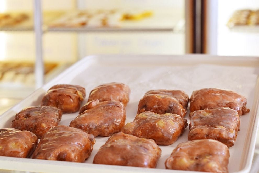 One of the Donut Man's most popular donuts is the pineapple fritter