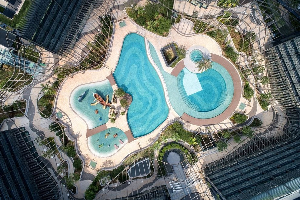 The Hong Kong Ocean Park Marriott Hotel features a beautiful lagoon, perfect for travelers of all ages