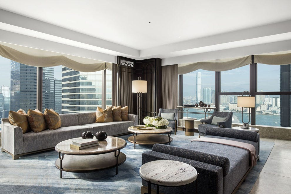 Harbor views from the Presidential Suite at the St. Regis Hong Kong cannot be rivaled