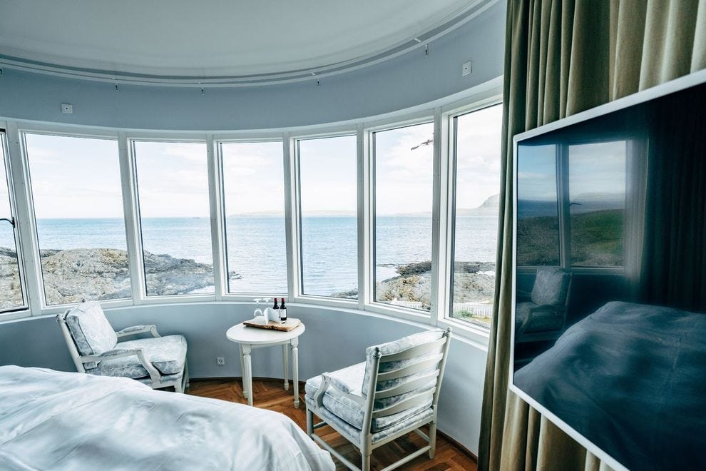 The dramatic views from one of the guest rooms at the Havgrim Seaside Hotel