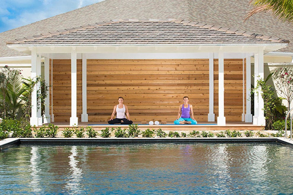 Yoga poolside at The Shore Club