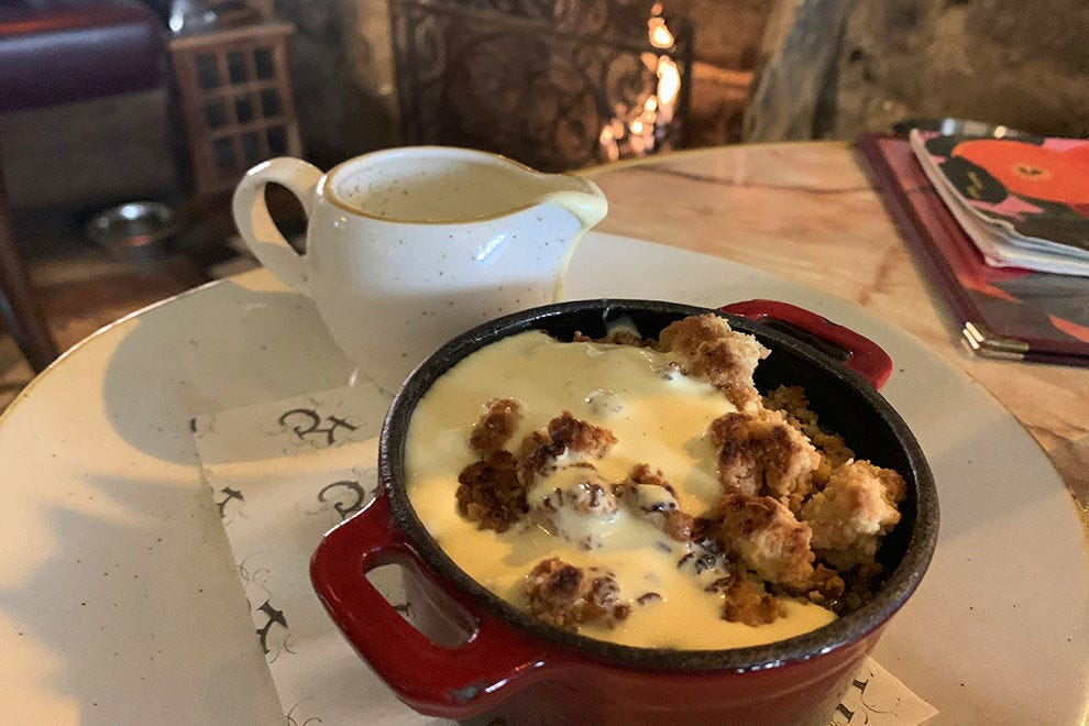 Rhubarb crumble and custard by the fire at the lovely Kelvingrove Cafe