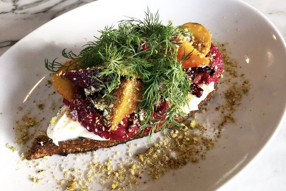 Cafe Roze offers breakfast, lunch and dinner foods like beet toast.