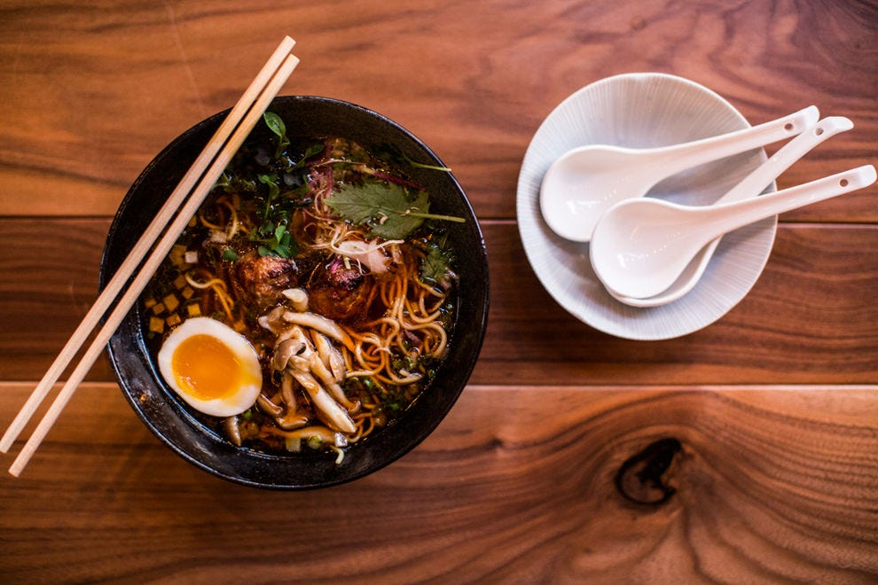 The izakaya-style eatery offers several meat and veggie forward ramen bowls.