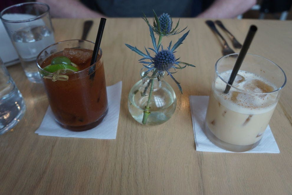 For brunch, Henrietta Red shakes up a Bloody Mary and a cold brew coffee milk punch.