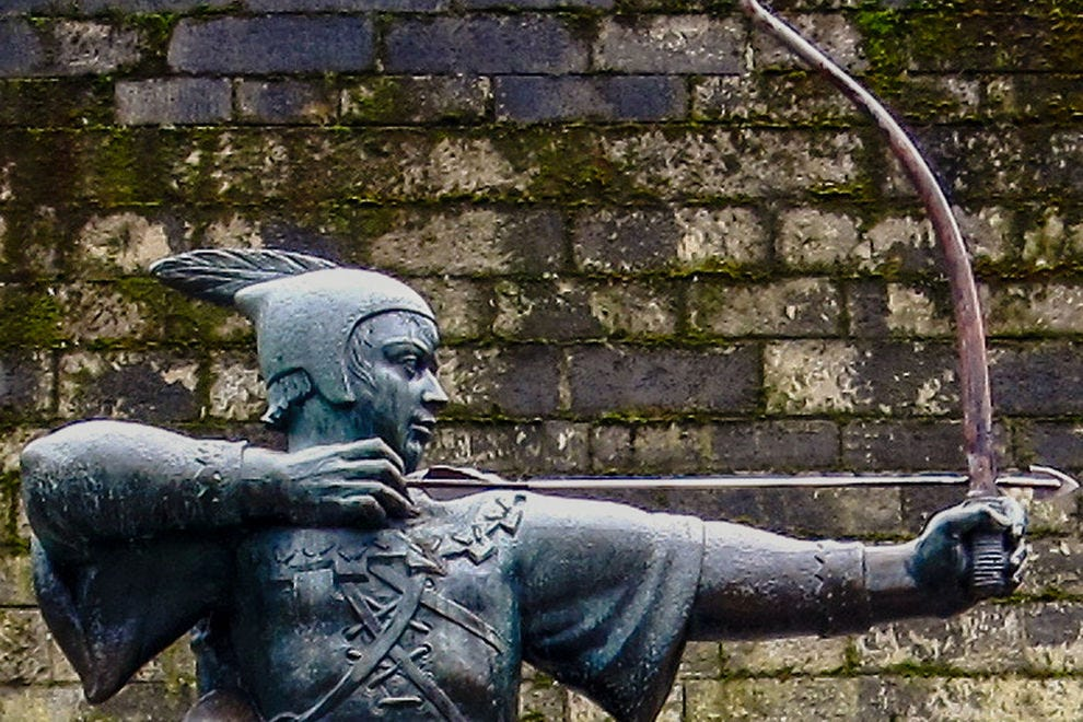 There are statues of Robin Hood throughout the Nottingham region, like this one at Nottingham Castle.