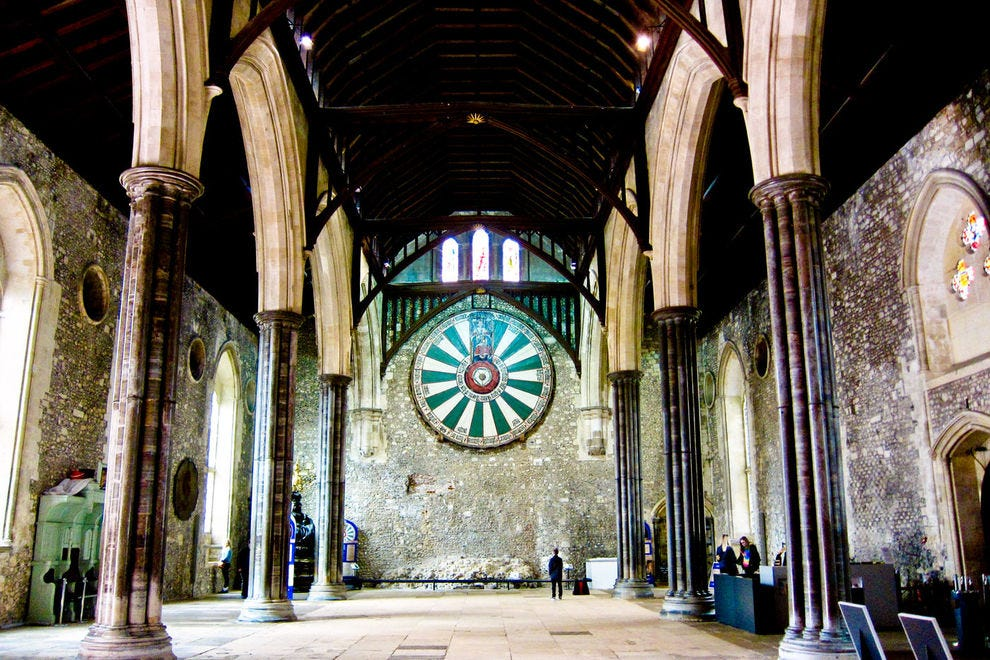 A replica of King Arthur's Round Table dominates one end of Winchester's Great Hall.