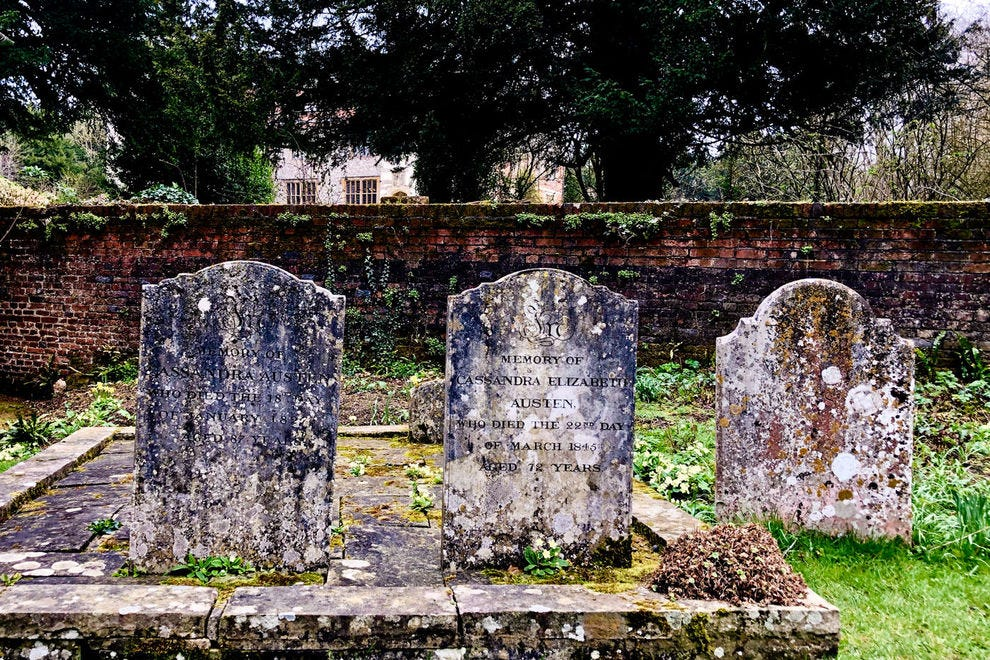 Behind the little church at Chawton House are the graves of Jane Austen's mother and sister.