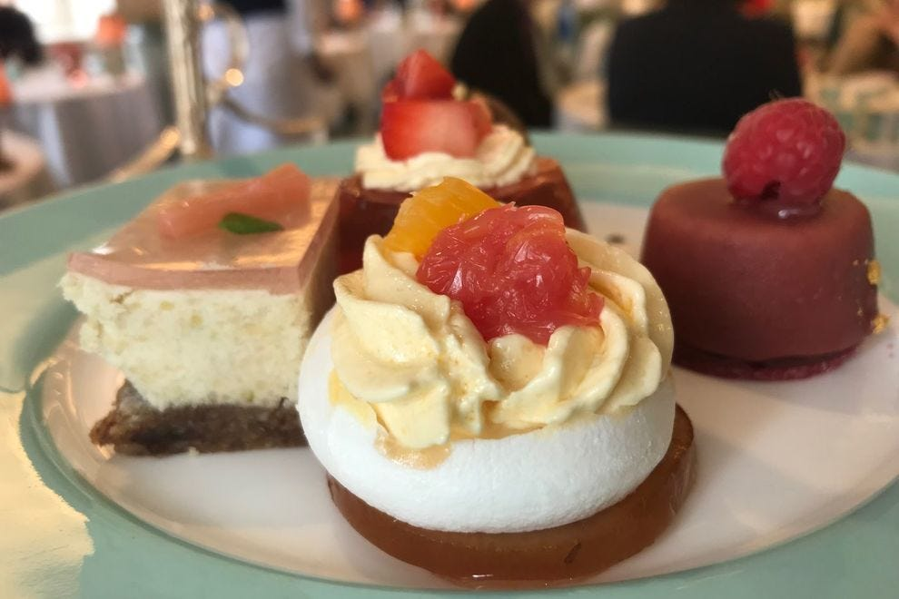 Gluten free pastries served at Fortnum & Mason's afternoon tea service
