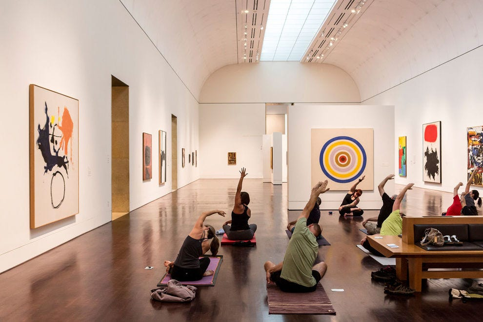 Yogis flow at studios around town as well as in spaces like the Blanton Museum of Art